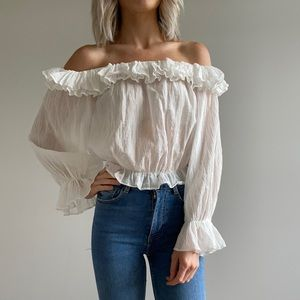 ZARA | Off-The-Shoulder Top with Frills ✨